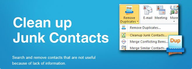 Search and remove contacts that are not useful because of the lack of information.