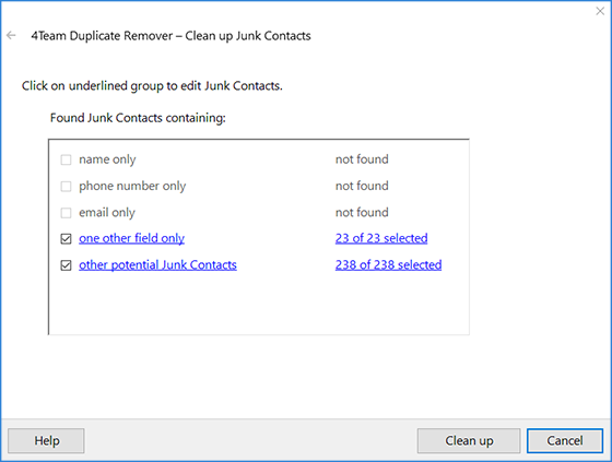 Remove Junk Contacts from Outlook in one click